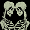 rynia: two skeletons facing each other (we feel it in our bones; time to go home)
