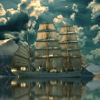 kittydesade: A blue-and-white toned picture of a many-masted galleon (bring me that horizon)