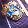 kittydesade: A Harry Potter Ravenclaw badge on a blue and silver striped background (ravenclaw prefect)