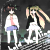 """rynia: perspective angled upwards at nanoha and fate standing together; the text """"hold the line"""" ([nanoha] your mother & father are leavin)"""