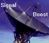 kit_r_writing: Satellite dish with text: Signal Boost (signal boost)