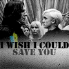 "lokifan: B&W!Snape & Draco from HBP, text ""I wish I could save you"" (Snape/Draco)"