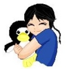 me_ya_ri: Boy with pigtail hugging a penguin plushy and grinning (Riki Love)