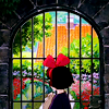 aquamirage: Kiki looking through a gate at a garden (one-thousand kudos)