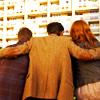 such_heights: amy, the doctor and rory hugging at the end of 609 (who: amy/eleven/rory [group hug])