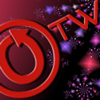 lucyp: OTW logo in red, surrounded by fireworks (OTW: Fireworks)
