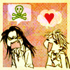 spindizzy: Moko and Kyoko from Skip Beat!, Moko emoting angry skulls and Kyoko emoting love hearts. (All my fave ships)