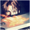 spindizzy: Squall holding up a gunblade with a burning sigil. (The fire and flame)