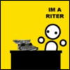 "spindizzy: A stick man sitting a desk looking cross-eyed and saying ""Im a riter"" (writing)"
