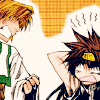 spindizzy: Sanzo and Goku shouting at each other. (What was that for?!, Hey!)