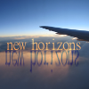 "naye: view from an airplane window with the text ""new horizon"" superimposed (new horizons)"