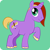 justira: A purple, gender-ambiguous unicorn pony in the style of My Little Pony: Friendship is Magic. (lady business)