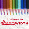 "invisionary: Colored pencils pointing down from top of icon, pointing to text: ""I believe in Dreamwidth"" (I Believe)"