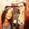 pajaroenvuelo: a candid of merlin's angel coulby and katie mcGrath looking particularly geeky (merlin { geek chic })