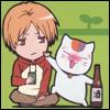 karayan: Natsume Yuujinchou: Natsume & Nyanko-sensei (The answer is BOOZE.)