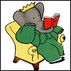 musyc: Babar the elephant reading a book (Books: Babar reading)