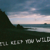 "avia: Text: ""I'll keep you wild"", on mountains at sunset. (keep you wild)"
