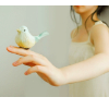 avia: A girl holding a littletoy bird on her fingers. (holding bird)
