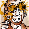 silveradept: A head shot of a  librarian in a floral print shirt wearing goggles with text squiggles on them, holding a pencil. (Librarian Goggles)