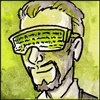 silveradept: A librarian wearing a futuristic-looking visor with text squiggles on them. (Librarian Techno-Visor)