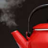 redsnake05: A red teapot with steam coming out (General: red teapot steaming)