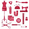 redsnake05: A collection of red sewing items (Creative: red sewing icons)