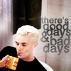 verity: spike sipping blood, from the episode Something Blue, text: there's good days and bad days (spike (there's good days and bad days))
