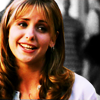 verity: buffy smiles, laughing, from the episode Welcome to the Hellmouth (buffy (lol))