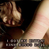 worksofstone: An East Asian woman leaning over with their head on their hands, exposing rope marks around their arm and breasts. (kink bingo: rope marks 2011)