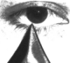 quatoria: An extreme close-up of my eye, with the blade of a knife just barely touching the bottom edge of my pupil. (eye, knife)