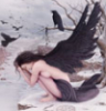 quork: Color painting of woman with raven wings sitting beside an icy river (icy river)
