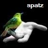 spatz: green bird perched on a hand (Spatz)