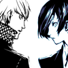 terabient: The P3 and P4 protagonists face each other in profile (Persona: Wild Cards)