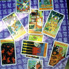 tarotstudies: A spread with the Halloween Tarot cards laid on a cloth. ([spreads] Halloween Tarot spread)