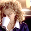 trialia: River Song (Alex Kingston) drinking a cup of coffee. (bsg] laura - smiling up)