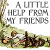 sorryforlaughing: A stuck Winnie the Pooh's friends pulling him from a hole. (A Little Help From My Friends)