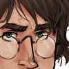 hp_fanworks: A close-up drawing of Harry Potter's face, focusing on his glasses and scar. (drawing by makani)