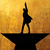 shinyjenni: Black sihouette of a man wearing a frock coat pointing in the air, standing on top of a star shape, on a gold background (like you're running out of time)
