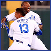 mayhap: Lorenzo Cain and Salvador Pérez celebrating (hermanos)