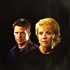 skieswideopen: Samantha Carter & Cameront Mitchell from SG1 (SG: Cam & Sam negative space)