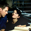 skieswideopen: SG1: Cam looking skeptically at Vala (SG: Cam & Vala)