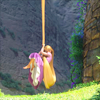 deird1: Rapunzel, hanging just above the ground, afraid to touch down (Rapunzel nearly to the ground)