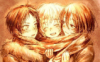 jujyfru1t: Eren, Armin, Mikasa, wrapped up in a scarf and standing close (scarf, ereminkasa, snk)