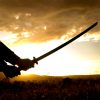 nightmachinery: The sillhouette of a man holding a raised katana--style sword against a sunrise. (Guardian - Sunrise)