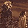 sharpest_asp: Pixelated image in sepia tones of Jareth and Sarah (Labyrinth: Jareth and sarah in Sepia)