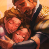 actiaslunaris: Tangled - The King and Queen hugging Rapunzel. (the banner over me is love)