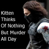 calime: Winter Soldier Bucky Barnes text kitten thinks of nothing but murder all day (bucky kitten thinks of murder)