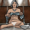 china_shop: Mallory Archer sitting naked in a lift, wringing gin out of her dress (Archer - Mallory with gin)