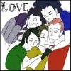 "girlpearl: killjoys in a puppy pile with text ""love"" (rainbow love is much too strong)"