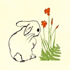 jenwryn: A drawn rabbit looking at a flower. (misc • nature; spring rabbit)